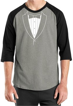 Mens Shirt Basic White Tuxedo Raglan Tee T-Shirt