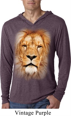 Mens Shirt Big Lion Face Lightweight Hoodie Tee T-Shirt