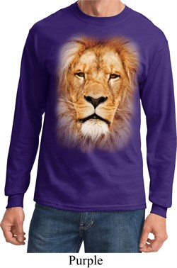 Mens Shirt Big Lion Face Long Sleeve Tee T-Shirt