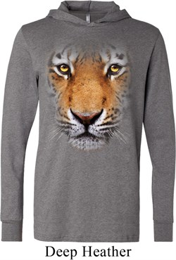 Mens Shirt Big Tiger Face Lightweight Hoodie Tee