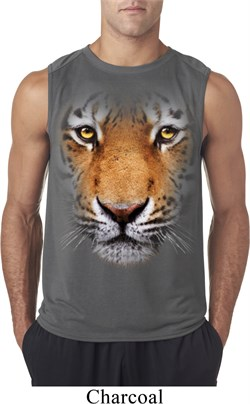 Mens Shirt Big Tiger Face Sleeveless Tee T-Shirt