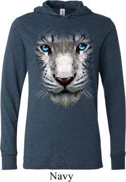 Mens Shirt Big White Tiger Face Lightweight Hoodie Tee