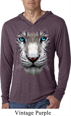 Mens Shirt Big White Tiger Face Lightweight Hoodie Tee T-Shirt