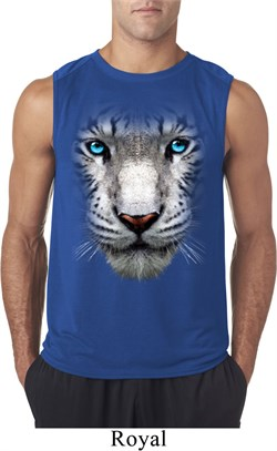 Mens Shirt Big White Tiger Face Sleeveless Tee T-Shirt