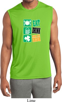 Mens Shirt Eat Drink Be Irish Sleeveless Moisture Wicking Tee T-Shirt