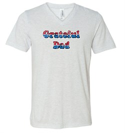 Mens Shirt Grateful American Dad Tri Blend V-neck Tee T-Shirt