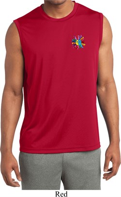 Image of Mens Shirt Hippie Sun Patch Pocket Sleeveless Moisture Wicking Tee
