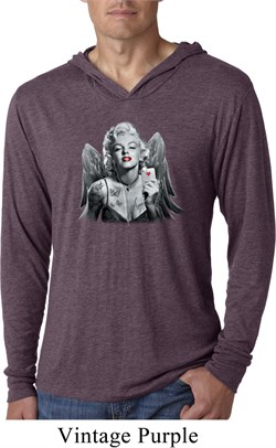 Mens Shirt Marilyn Butterfly Lightweight Hoodie Tee T-Shirt