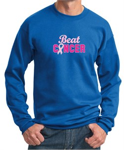 Image of Mens Sweatshirt Breast Cancer Awareness Beat Cancer Sweat Shirt