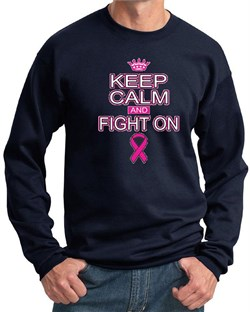 Image of Mens Sweatshirt Breast Cancer Awareness Keep Calm Sweat Shirt