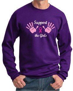 Image of Mens Sweatshirt Breast Cancer Awareness Support the Girls Sweat Shirt