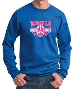 Mens Sweatshirt Breast Cancer Awareness Tackle Cancer Sweat Shirt