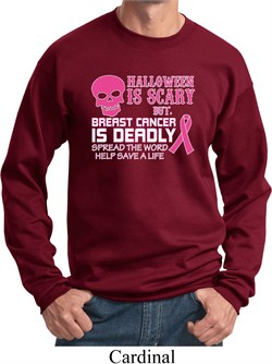 Image of Mens Sweatshirt Halloween Scary Breast Cancer Deadly Sweat Shirt