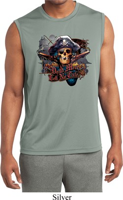 Image of Mens Tell No Tales Pirate Sleeveless Moisture Wicking Tee T-Shirt