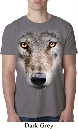 Mens Wolf Shirt Big Wolf Face Burnout T-Shirt