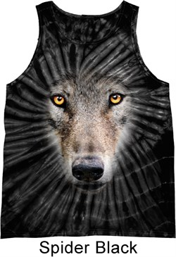 Mens Wolf Tanktop Big Wolf Face Tie Dye Tank Top