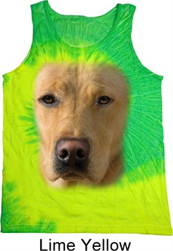 Mens Yellow Lab Tanktop Big Yellow Lab Face Tie Dye Tank Top