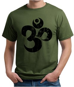 Image of Mens Yoga Shirt Black Distressed OM Organic Tee T-Shirt