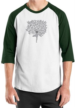 Image of Mens Yoga Shirt Grey Tree Pose Raglan Tee T-Shirt