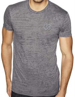 Image of Mens Yoga Shirt OM Heart Pocket Print Burnout Tee T-Shirt