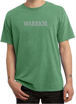 Image of Mens Yoga Shirt Warrior Text Pigment Dyed Tee T-Shirt