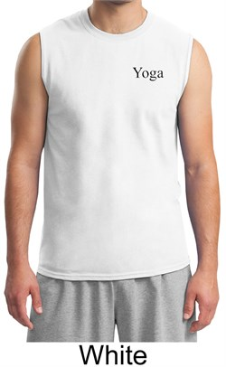 Mens Yoga Shirt Yoga Logo Pocket Print Adult Muscle Shirt