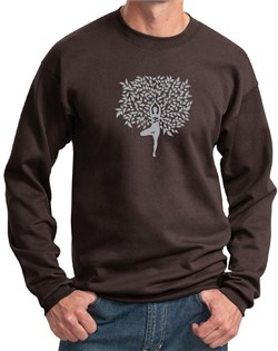 Mens Yoga Sweatshirt Grey Tree Pose Sweat Shirt