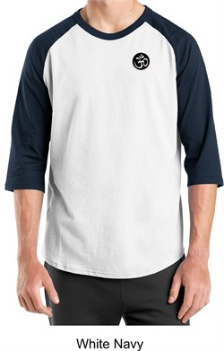Mens Yoga T-shirt ? Aum Patch Sanskrit Pocket Print Raglan Shirt
