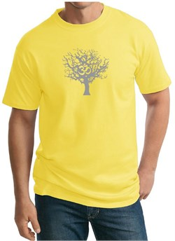 Mens Yoga T-shirt Grey Tree of Life Tall Tee