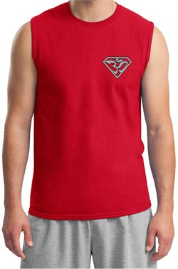 Image of Mens Yoga T-Shirt Super OM Pocket Print Muscle Shirt