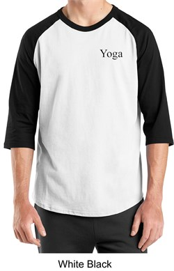 Mens Yoga T-shirt Yoga Logo Pocket Print Adult Raglan Shirt
