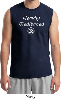 Image of Mens Yoga Tee Heavily Meditated with OM Muscle Shirt