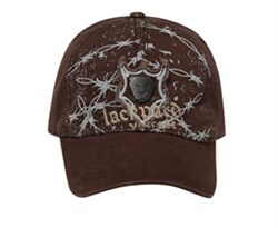 Image of Barb Wire Hat with Metal Emblem on Distressed Patch Lackpard Cap Brown