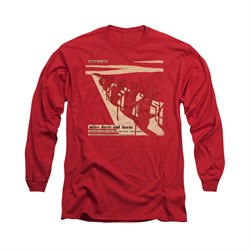 Image of Miles Davis Shirt Davis And Horns Long Sleeve Red Tee T-Shirt