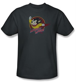 Image of Mighty Mouse T-shirt - TV Series Mighty Circle Adult Charcoal Tee