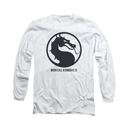 Mortal Kombat Shirt Black Dragon Logo Long Sleeve White Tee T-Shirt