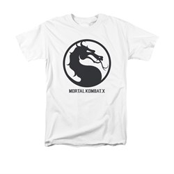 Mortal Kombat Shirt Black Dragon Logo White T-Shirt