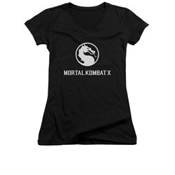 Mortal Kombat Shirt Juniors V Neck White Dragon Logo Black T-Shirt