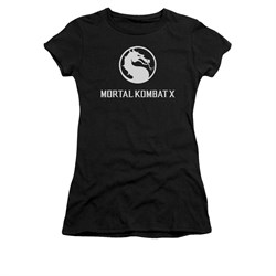 Mortal Kombat Shirt Juniors White Dragon Logo Black T-Shirt