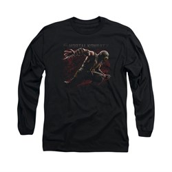 Mortal Kombat Shirt Scorpion Lunge Long Sleeve Black Tee T-Shirt
