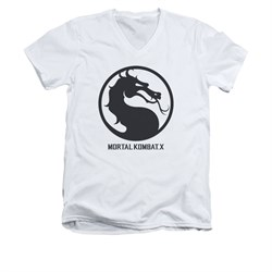 Mortal Kombat Shirt Slim Fit V-Neck Black Dragon Logo White T-Shirt