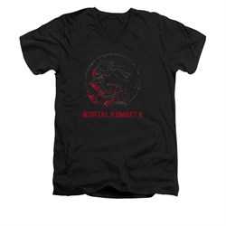 Mortal Kombat Shirt Slim Fit V-Neck Bloody Logo Black T-Shirt