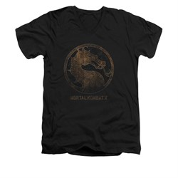 Mortal Kombat Shirt Slim Fit V-Neck Metal Logo Black T-Shirt