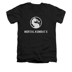 Mortal Kombat Shirt Slim Fit V-Neck White Dragon Logo Black T-Shirt
