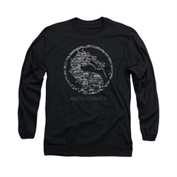 Mortal Kombat Shirt Stone Logo Long Sleeve Black Tee T-Shirt