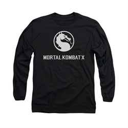 Mortal Kombat Shirt White Dragon Logo Long Sleeve Black Tee T-Shirt