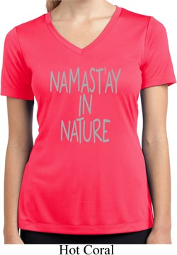 Image of Namastay in Nature Ladies Moisture Wicking V-neck Shirt