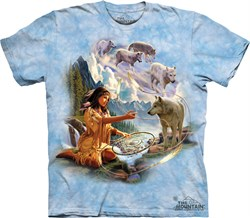 Image of Native American Shirt Tie Dye Dreams of Wolf Spirit T-shirt Adult Tee