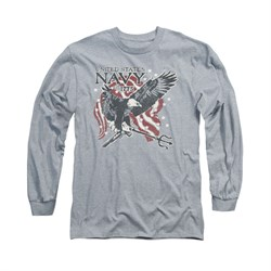 Navy Shirt Navy Eagle Trident Long Sleeve Athletic Heather Tee T-Shirt