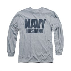 Image of Navy Shirt Navy Husband Long Sleeve Athletic Heather Tee T-Shirt